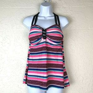 Swim by Cacique Tankini 14 Striped Lace Detail